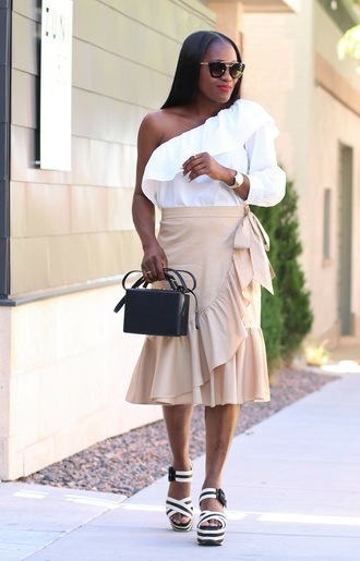 skirt ruffle hem skirt midi skirt one shoulder blouse ruffle blouse boxed bag platform sandals blogger blogger style