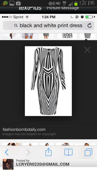 dress black white pattern tight long sleeves short