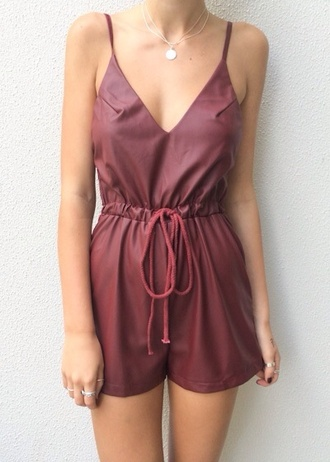 shorts dress jumpsuit sleeveless romper red leather
