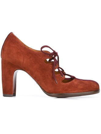 women pumps lace leather suede brown shoes