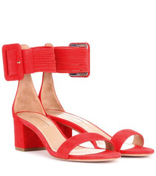 Aquazzura sandals suede red shoes