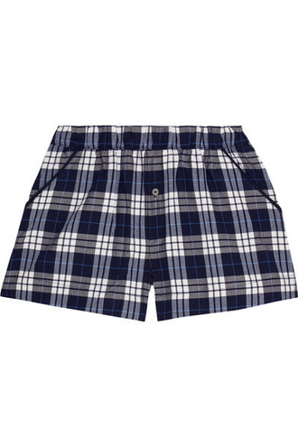 shorts pajama shorts plaid navy cotton