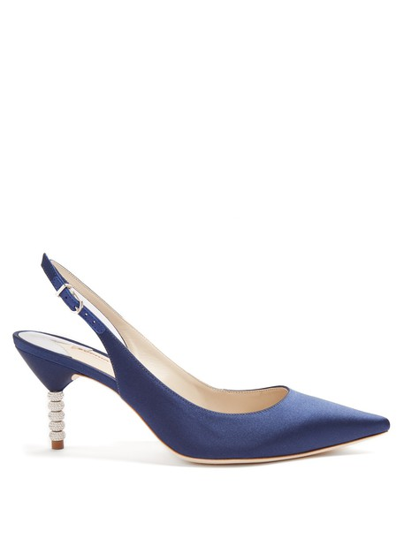 heel embellished pumps satin navy shoes