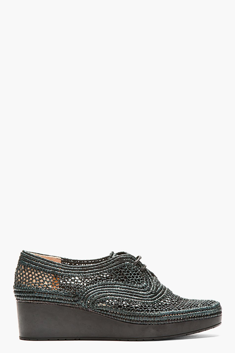 Robert clergerie black rafia braided vicoleg wedge shoes
