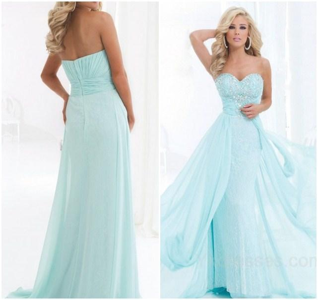Discount 2015 Stunning FROZEN Long Prom Dresses Beaded Sweetheart Sleeveless A-Line Floor-length Chiffon Formal/Evening Gowns Online with $115.42/Piece | DHgate