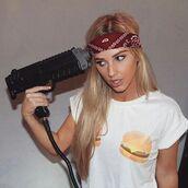 top,crop,hamburger,burger boobs,bossy,bossy the label,burger shirt,peppermayo