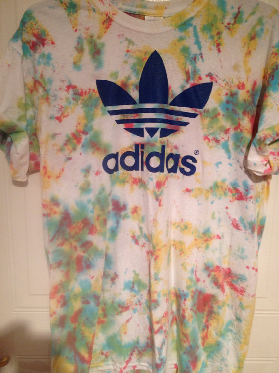 Unisex customised blue adidas acid wash tie dye t shirt sz large