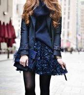 skirt,floral skirt,navy,tumblr,blue skirt,mini skirt,floral,jacket,Navy jacket,sweater,blue sweater,turtleneck,turtleneck sweater,tights,opaque tights,bag,blue bag,monochrome outfit