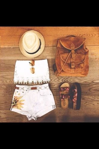bag top shorts shoes hat
