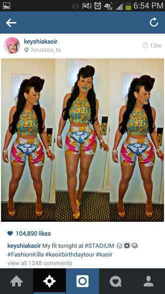 shirt bad swag crop tee mixing prints spring summer 2014 trending colorful galaxy different color matching sets baddies gold sequins teal midi skirt blue lipstick keyshia ka'oir shorts