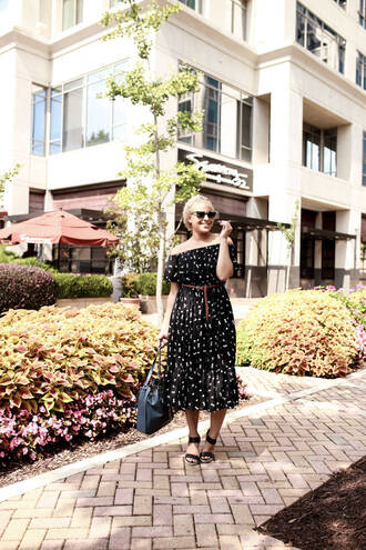 fashionably lo blogger dress shoes sunglasses bag off the shoulder dress off the shoulder belted dress belt midi dress black dress printed dress black bag sandals black sandals summer outfits summer dress black off shoulder dress black midi dress