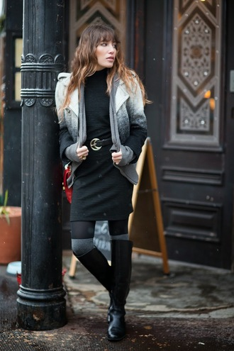 the marcy stop blogger jacket belt ombre black dress winter outfits dress socks bag shoes