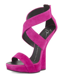 Suede wedge sandal with ankle strap, fuchsia