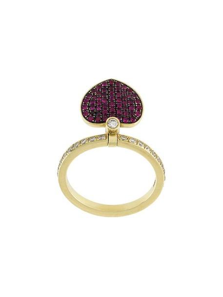 Jagga heart women love ring gold yellow grey metallic jewels