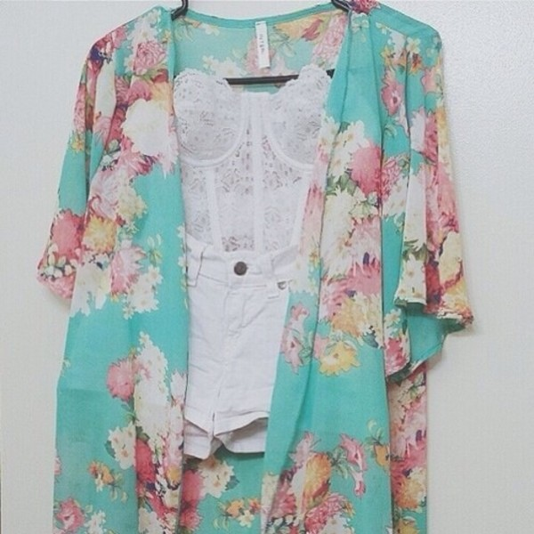 blouse flowers shorts shirt