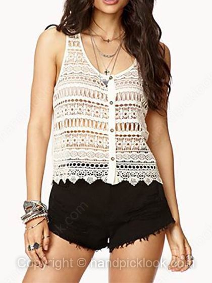Beige Sleeveless Hollow Chiffon Lace Crop Vest - HandpickLook.com