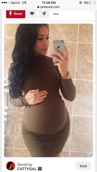dress maternity dress brown dress knitted dress