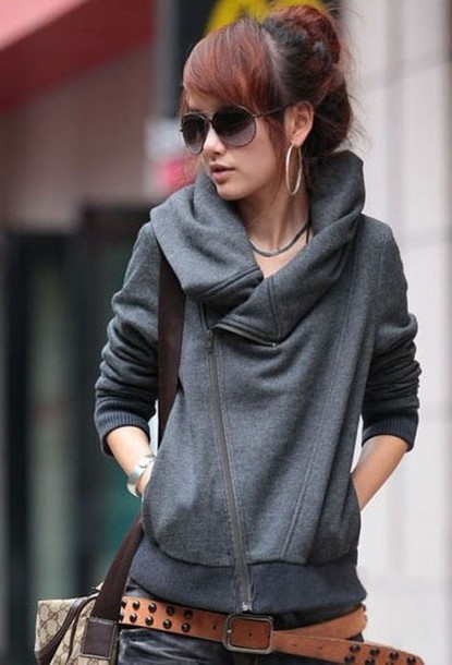 sweater grey grey sweater zipper fall sweater hoodie
