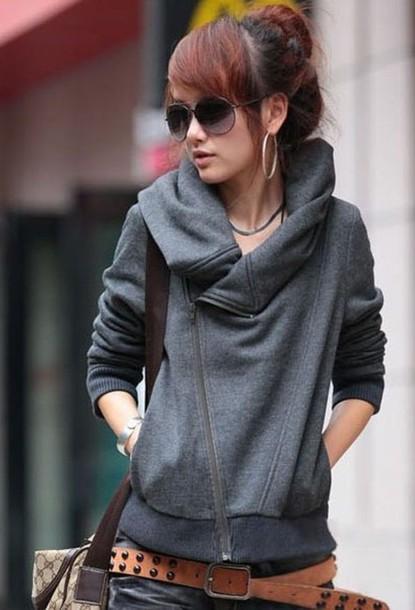 sweater grey grey sweater zipper fall sweater hoodie