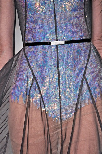 holographic sheer shiny prom dress purple sequence marios schwab dress texture sea creatures