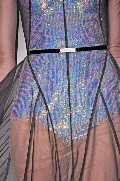 sheer holographic shiny prom dress purple sequence