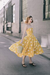 dress,tumblr,basket bag,midi dress,polka dots,yellow,yellow dress,sandals,shoes,spring outfits,spring dress,bag,flowy dress