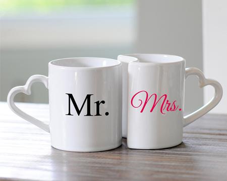 Joyful Bride Online : Discount Mr. & Mrs. Heart-Handles Coffee Mug Set