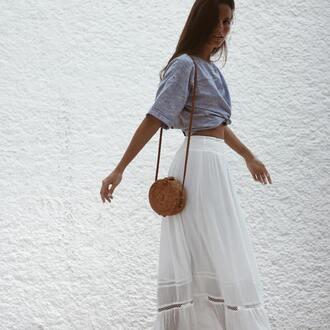 skirt espirit white white skirt long skirt maxi skirt sheer spring outfits summer summer outfits