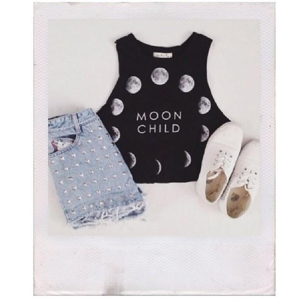 moon moon women's girl boho hippie moon child crop top