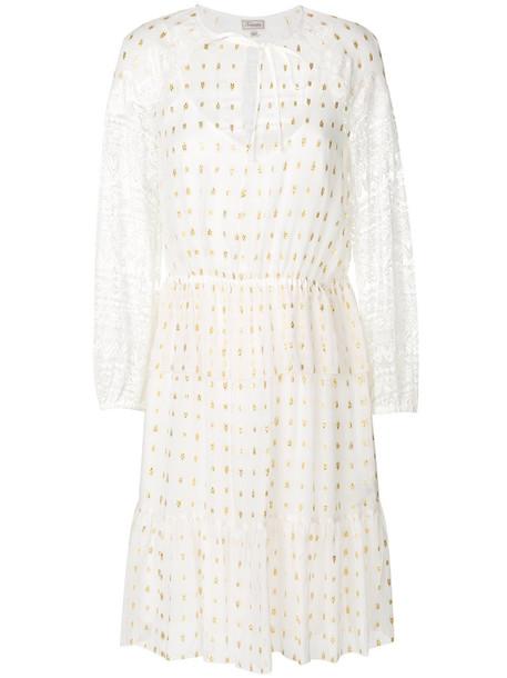 Temperley London dress metal women lace white cotton silk