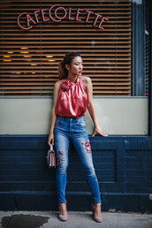 top,tumblr,pink top,halter top,halter neck,denim,jeans,blue jeans,skinny jeans,rose embroidered,bag,sandals,sandal heels,high heel sandals