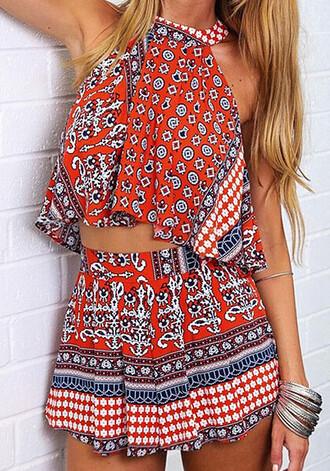 romper two-piece orange tribal pattern