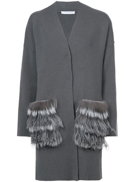 Fabiana Filippi coat fur fox women silk grey