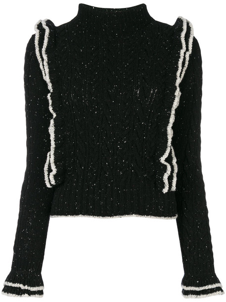 Philosophy di Lorenzo Serafini top ruffled top women black wool knit