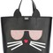 Karl lagerfeld cat motif large tote, women's, black