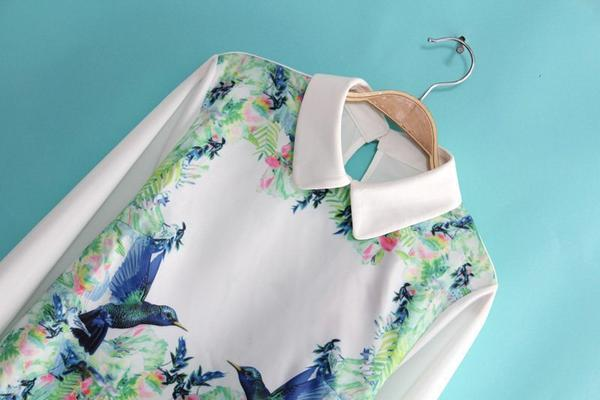 Long-Sleeve Bird Print Blouse - JVL | YESSTYLE