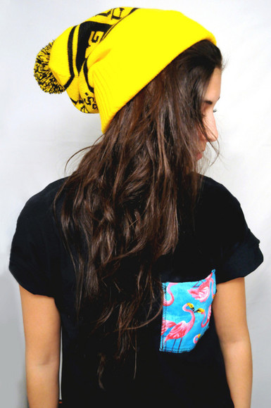 t-shirt pocket black tumblr love top flamingo hat