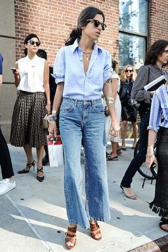 le fashion image blogger sunglasses shirt jeans mom jeans button up statement necklace streetwear