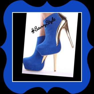 shoes boots blue booties blue boots blue and gold royal blue shoes high heels