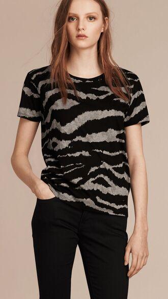 t-shirt printed t-shirt animal print zebra burberry