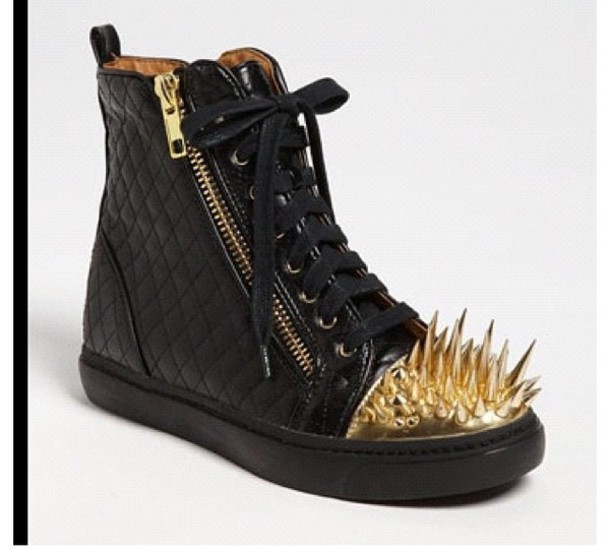 shoes gold spikes zipper leather
