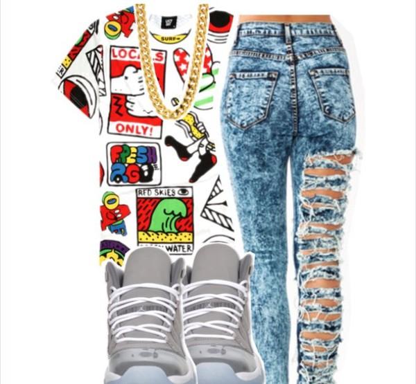 jeans acid wash shoes shirt