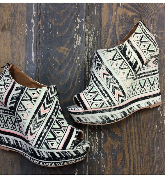 shoes multicolor aztec wedges