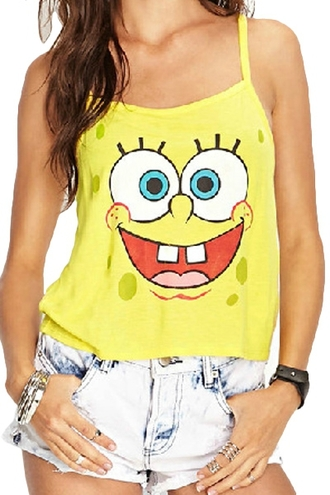 top yellow yellow top tank top cartoon