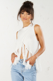 top,fringed top,sleeveless top,white top,boho top,cotton top