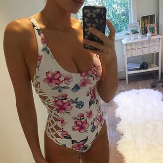 swimwear floral bikini beach summer trendy sexy one piece swimsuit bikiniluxe-feb bikiniluxe