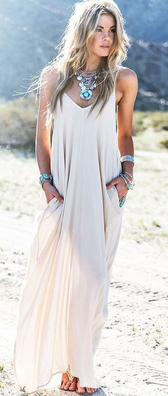 dress boho dress white dress maxi dress summer dress fashion trendy white maxi summer long dress rosegal-jan jewelry silver necklace bracelets boho jewelry silver jewelry turquoise statement necklace cuff bracelet stacked bracelets silver necklace silver bracelet turquoise jewelry beige tan cute dress beige dress