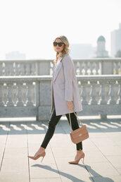 ivory lane,blogger,coat,top,leggings,shoes,bag,sunglasses,jewels,grey coat,winter outfits,high heel pumps,pumps