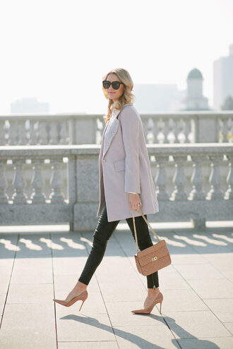 ivory lane blogger coat top leggings shoes bag sunglasses jewels grey coat winter outfits high heel pumps pumps