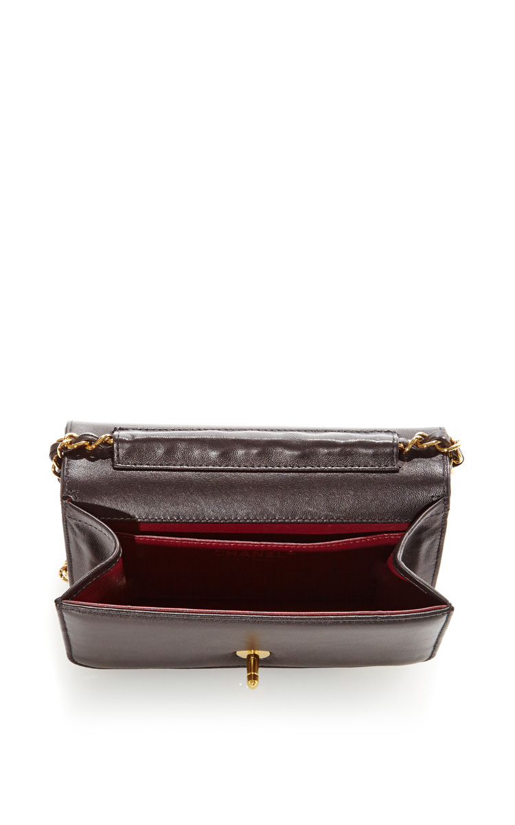 Vintage Chanel Black Mini Full Flap Bag from What Goes Around Comes Around by Vintage Chanel - Moda Operandi